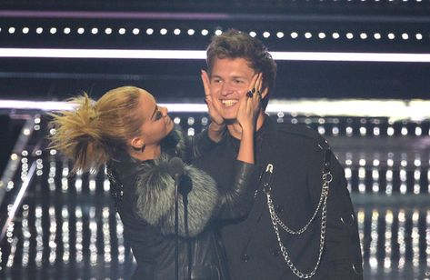 Rita Ora and Ansel Elgort present onstage during the 2016 MTV Video Music Awards.