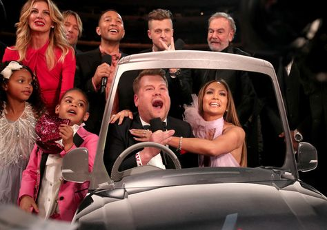 (L-R) Blue Ivy Carter, Guest, Faith Hill, Keith Urban, John Legend during The 59th GRAMMY Awards at STAPLES Cent, GRAMMY Awards host James Corden, Ryan Tedder of OneRepublic, Jennifer Lopez, and Neil Diamond during The 59th GRAMMY Awards at STAPLES Center on February 12, 2017 in Los Angeles, California.