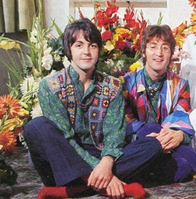 Paul McCartney wearing his crochet granny square waistcoat