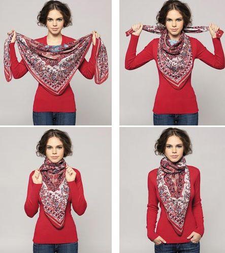 Как красиво завязать шарф на шее поверх куртки пошагово