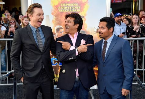 "(L-R) Writer/Director/Actor Dax Shepard and actors Erik Estrada and Michael Pena at the premiere of Warner Bros. Pictures' ""CHiPS"" at TCL Chinese Theatre on March 20, 2017 in Hollywood, California."