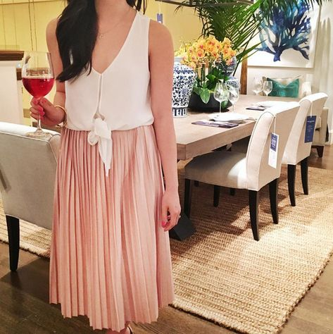 A Glass of Rosé and Pretty Pleats - First Date Outfits and Ideas - Photos