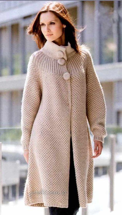 Вязаные женские пальто спицами