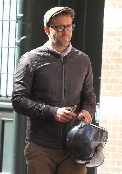 Actor Ryan Reynolds is spotted out for a motorcycle ride in New York City.