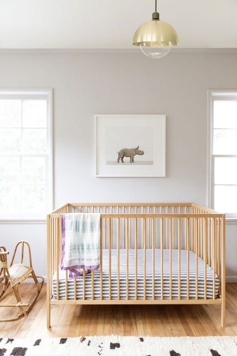Sharon Montrose's latest nursery design, featuring her brand-new Baby Rhino print. All photographs by The Animal Print Shop | Lonny.com
