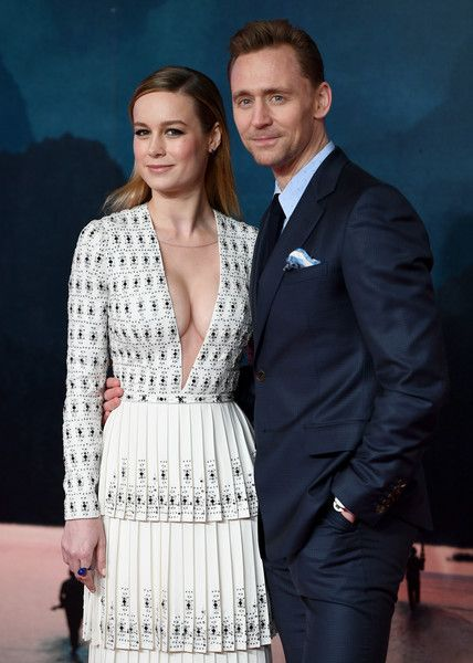 Brie Larson and Tom Hiddleston attend the European premiere of 'Kong: Skull Island.'
