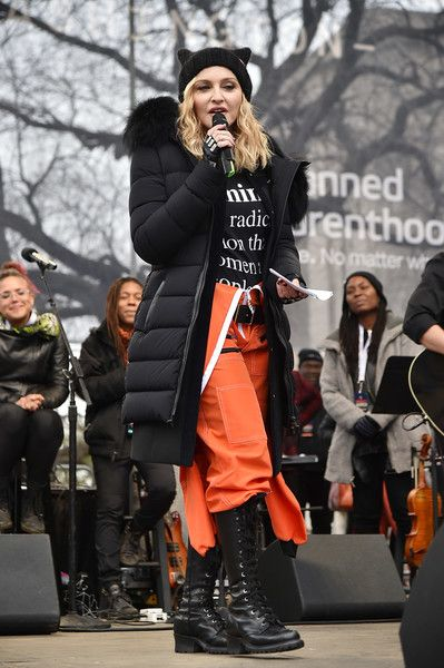 Madonna performs onstage during the Women's March on Washington.