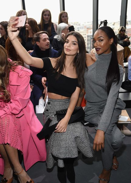 Models Emily Ratajkowski (L) and Jourdan Dunn attend the Michael Kors Collection Fall 2017 runway show at Spring Studios on February 15, 2017 in New York City.