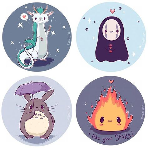 Spirited Away for the first two, My Neighbor Totoro for the third and Howl's Moving Castle for the last :3 ~Emily