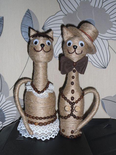 Коты из бутылки и шпагата своими руками 73