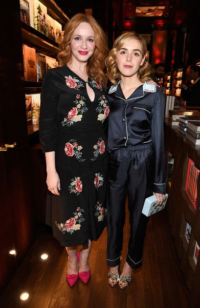 "Actors Christina Hendricks (L) and Kiernan Shipka attend the launch for Matthew Weiner's Book ""Mad Men"" at TASCHEN Store Beverly Hills on February 23, 2017 in Beverly Hills, California."