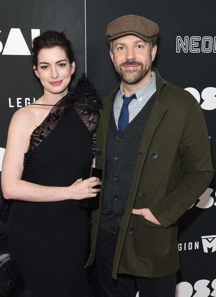 Actors Anne Hathaway and Jason Sudeikis attend the 'Colossal' premiere at AMC Lincoln Square Theater.