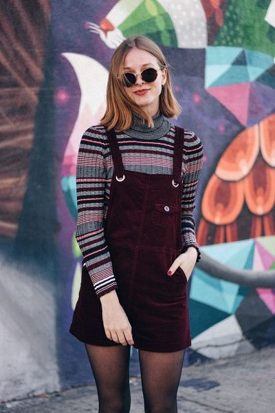 Patterned Turtlenecks Definitely Work - How To Wear the Pinafore Trend Without Looking Like A Kid - Photos