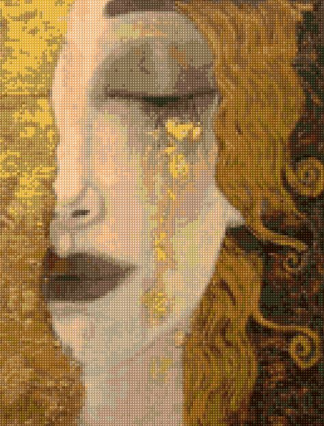 Art Deco Gustav Klimt 'Golden Tears' Cross stitch chart PDF - EASY chart with one color per sheet And traditional chart! Two charts in one