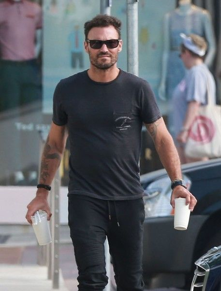 Actor Brian Austin Green stops to pick up some coffee at the Coffee Bean & Tea Leaf in West Hollywood, California on June 27, 2016. Brian has been cast as a regular on the upcoming season of 'Rosewood'.