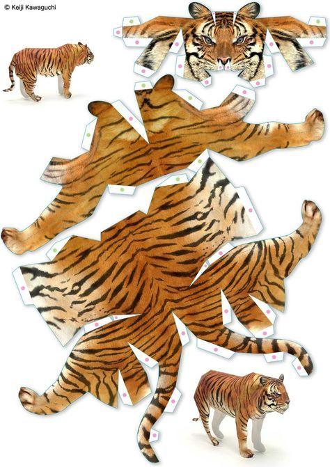 Как сделать объемного тигра