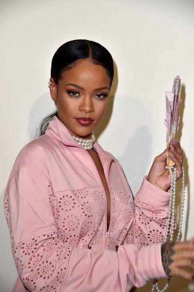 Rihanna is seen backstage during FENTY x PUMA by Rihanna at Hotel Salomon de Rothschild on September 28, 2016 in Paris, France.