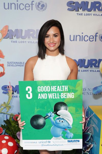 Singer Demi Lovato attends the United Nations Headquarters celebrating International Day of Happiness in conjunction with 'SMURFS: THE LOST VILLAGE' in NYC.