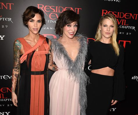 "(L-R) Actresses Ruby Rose, Milla Jovovich and Ali Larter arrive at the premiere of Sony Pictures Releasing's ""Resident Evil: The Final Chapter"" at the Regal L.A. Live Theatres on January 23, 2017 in Los Angeles, California."