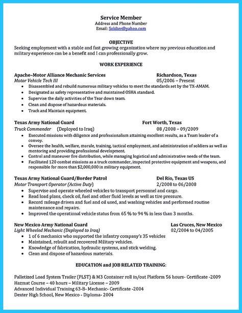 Diesel mechanic resume examples