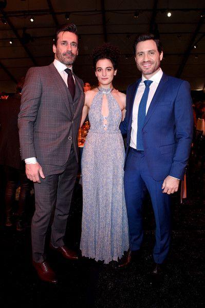 Actors Jon Hamm, Jenny Slate, and Edgar Ramirez attend the 2017 Film Independent Spirit Awards.