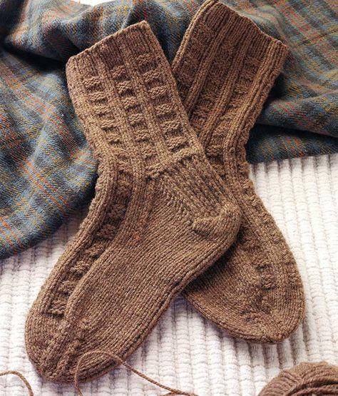 Ирландское вязание носков спицами 55