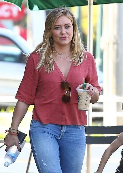 Actress Hilary Duff and her son Luca stop by a Starbucks in Studio City.