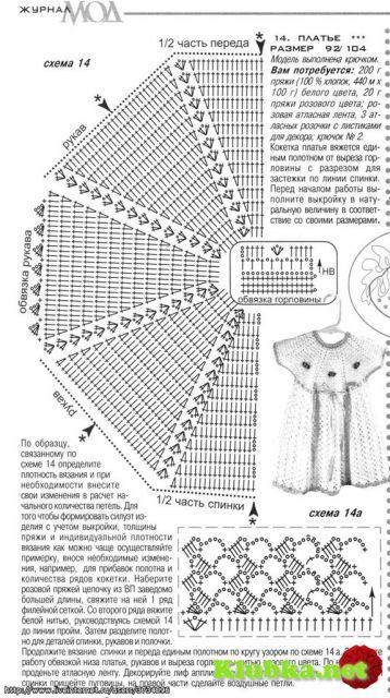Схемы вязания платья для девочек 1-2 лет