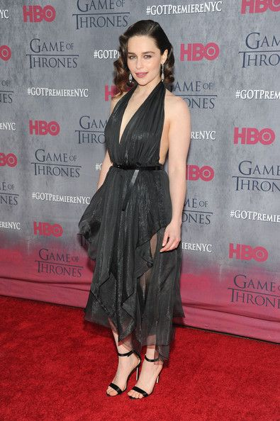 Fancy and Cool in Draped Layers From Donna Karan - We Can't Get Enough of Emilia Clarke's Regal Red Carpet Style - Photos