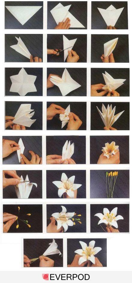 Белые цветы из бумаги своими руками оригами 76