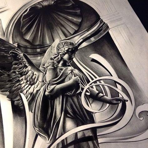 Эскиз тату ангелов чикано