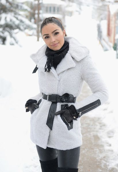 Olivia Culpo conducts an interview on the streets of Park City for Amazon's 'Style Code Live'.