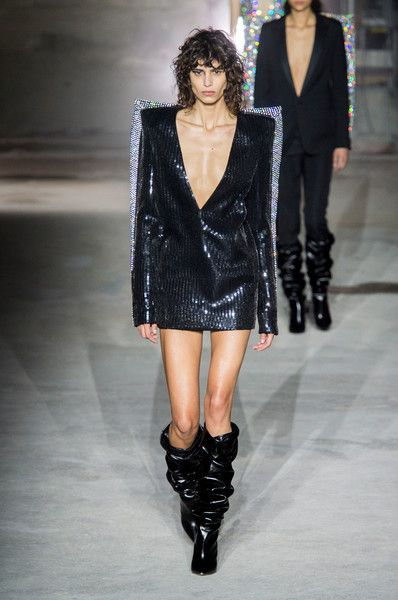 Saint Laurent's Boxy Deep-V Sequins - '80s Trends Making a Comeback on the Runway - Photos