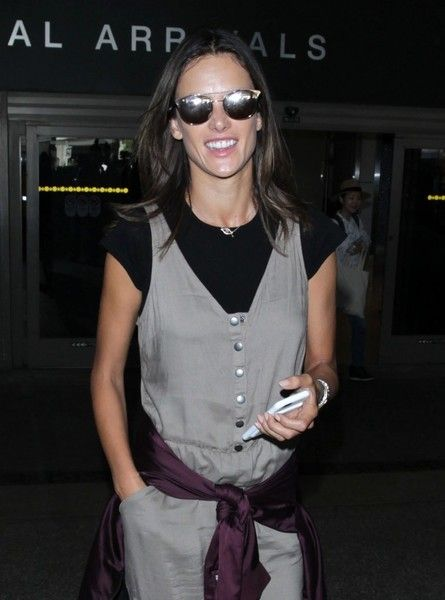 Victoria's Secret model Alessandra Ambrosio is seen arriving on a flight at LAX airport in Los Angeles, California on September 23, 2016.