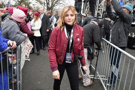 Chloe Grace Moretz attends the Women's March on Washington.