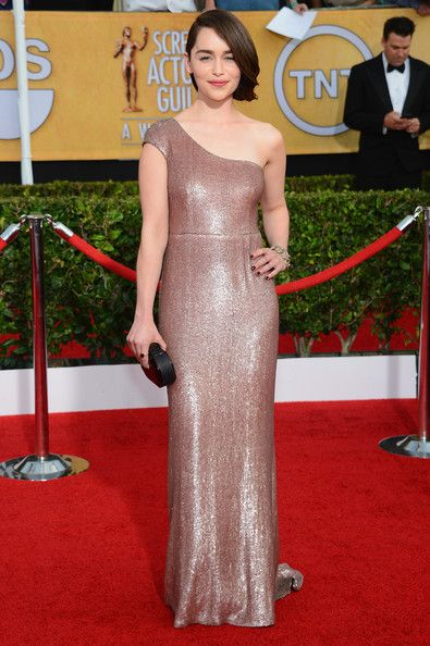 Shimmering Magic in Calvin Klein's Champaign Sequins - We Can't Get Enough of Emilia Clarke's Regal Red Carpet Style - Photos