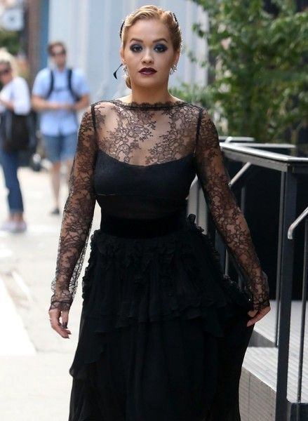 Singer Rita Ora leaves a tattoo removal office in New York City.