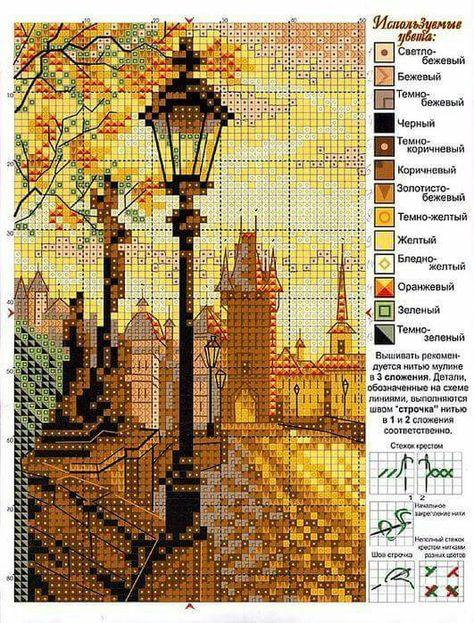Схемы для вышивок крестом пейзажи 203