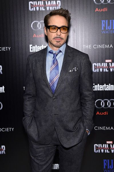 """Actor Robert Downey Jr. attends the screening of Marvel's """"Captain America: Civil War"""" hosted by The Cinema Society with Audi & FIJI at Henry R. Luce Auditorium at Brookfield Place on May 4, 2016 in New York City."""