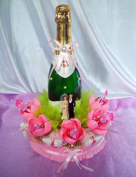 Подарок из конфет с шампанским своими руками 262
