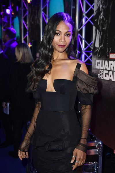 "Zoe Saldana attends the European launch event of Marvel Studios' ""Guardians of the Galaxy Vol. 2."" at the Eventim Apollo on April 24, 2017 in London, England."