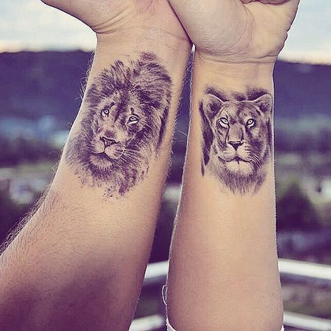 Lion and lioness couple tattoos