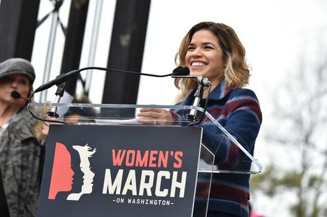 America Ferrera speaks onstage at the Women's March on Washington.