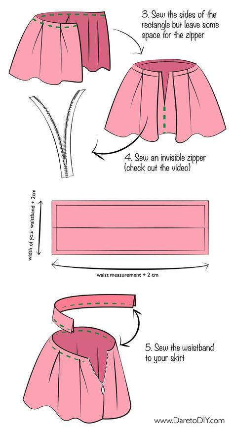 Как сшить юбку в складку с резинкой 173