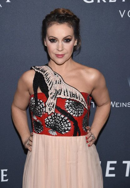 Actress Alyssa Milano attends The Weinstein Company's Pre-Oscar Dinner.