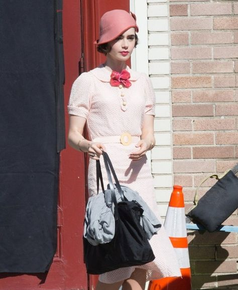 Lily Collins and Matt Bomer perform on the set of new show 'The Last Tycoon.'