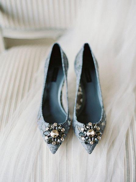 Lace Jeweled Kitten Heels - Something Blue Wedding Shoes - Photos