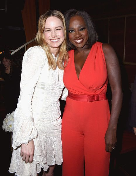 Actors Brie Larson and Viola Davis, wearing Max Mara attend the tenth annual Women in Film Pre-Oscar Cocktail Party presented by Max Mara and BMW at Nightingale Plaza on February 24, 2017 in Los Angeles, California.