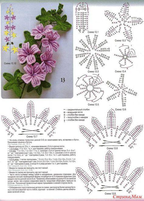 Схема горшка с цветами крючком