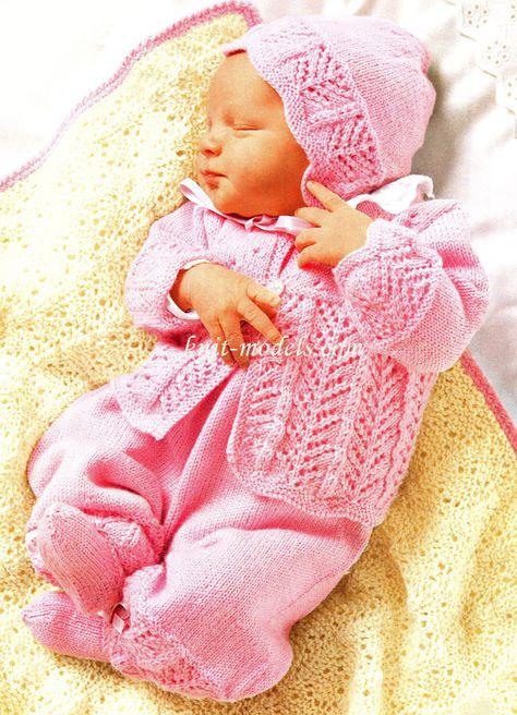 Вязание комплектов для новорожденных спицами 58